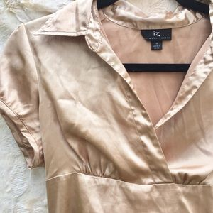Business casual rose-gold silky blouse